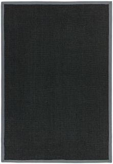 black sisal rug with a grey border