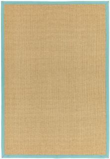 Bordered Sisal Rug Linen with Aqua Border