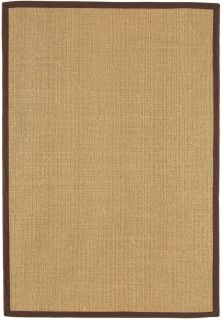 beige sisal rug with a brown border