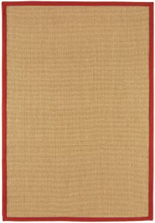 beige sisal rug with a red border