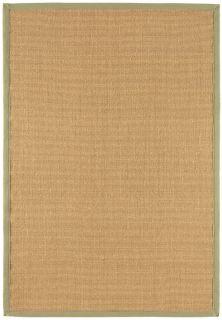 beige sisal rug with a sage green border