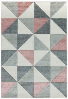 geometric pink and grey rug