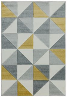 geometric mustard and grey rug