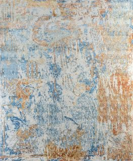Authentic Indian rug with abstract design in creamy white and sky blue