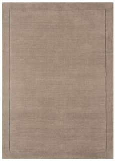 A taupe brown rectangle-shaped wool rug with thin border.