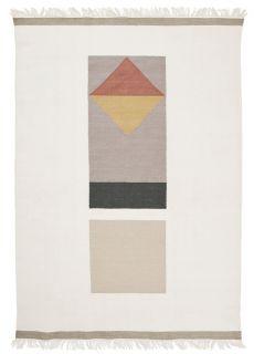 white flatweave rug with geometric design