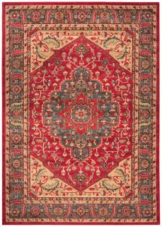 red, blue and beige rug with a persian design
