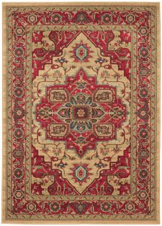 red and beige rug with a persian design