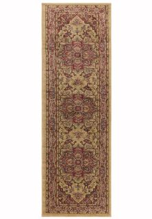 red and beige runner with a persian design