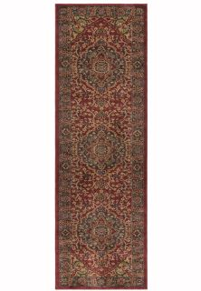 red, blue and beige runner with a persian design