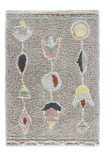 grey washable lorena canals wool rug with multicolour tribal design