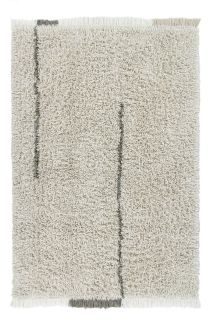 lorena canals washable wool rug with a simple block design in beige