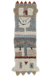 lorena canals washable rug with a tribal geometric design in beige, blue and red