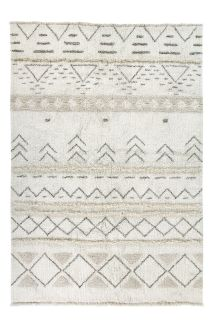 lorena canals washable wool rug with a simple moroccan beni design in beige