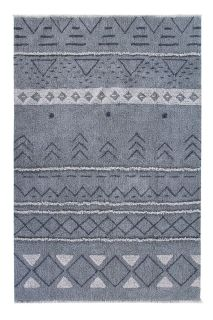 lorena canals washable wool rug with a simple moroccan beni design in blue