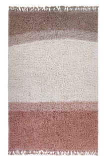 lorena canals washable wool rug with a simple block design in pink and beige
