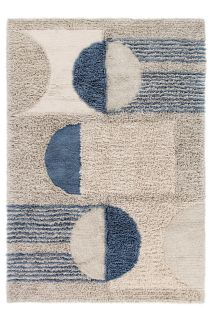 Beige and Blue Lorena Canals rug with abstract design