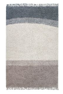 lorena canals washable wool rug with a simple block design in blue and beige