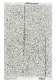 bohemian lorena canals woolable rug with a simple abstract design in blue and cream