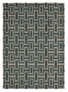 rectangular grey and black rug with repeat geometric pattern