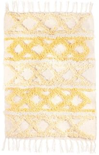 moroccan style geometric rug in yellow and white