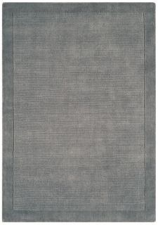 A plain grey rectangle-shaped wool rug with thin border.