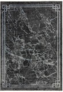 abstract grey bordered rug